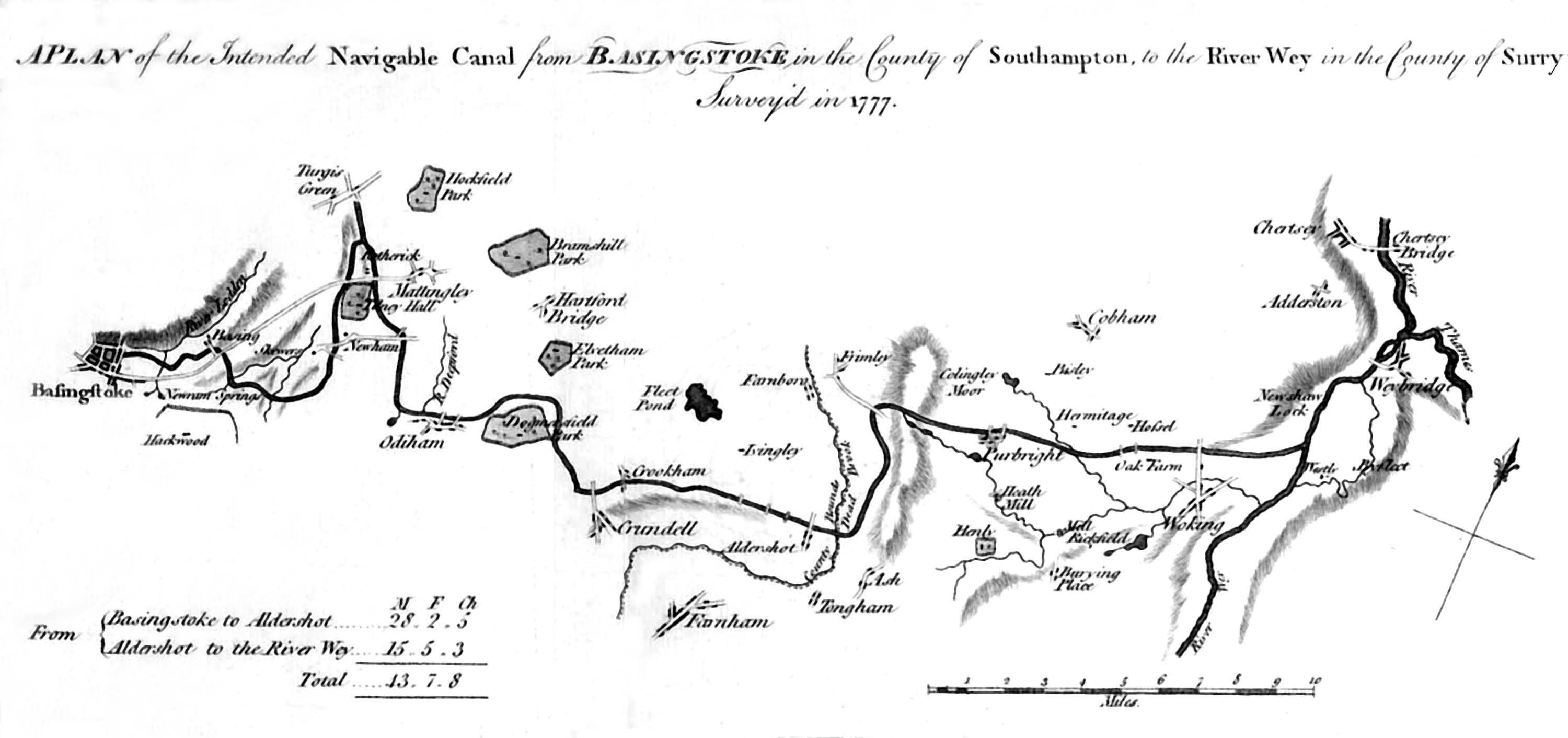 Basingstoke Canal Map Map, old   The Basingstoke Canal Society